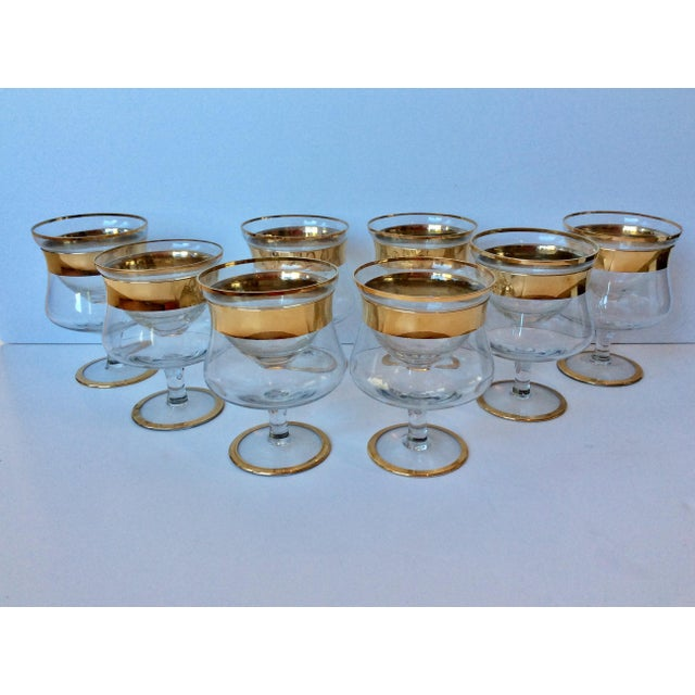 Gold 1960s Mid-Century Modern Dorothy Thorpe Gold Band Shrimp Caviar Icers - Set of 8 For Sale - Image 8 of 8