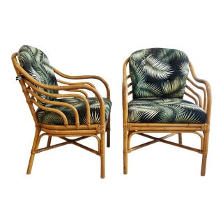 Mid Century Brown Jordan Sculpted Bent Rattan Dining Armchairs in Tropical Palm Frond Fabric - a Pair For Sale