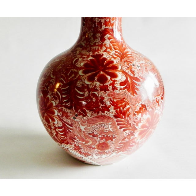 Chinoiserie Large Orange Vase With Long Neck, Dragon and Floral Scroll For Sale - Image 3 of 6