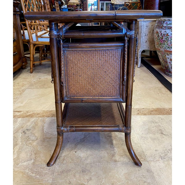 Brown Asian Rattan End Table With Drop Shelves For Sale - Image 8 of 12