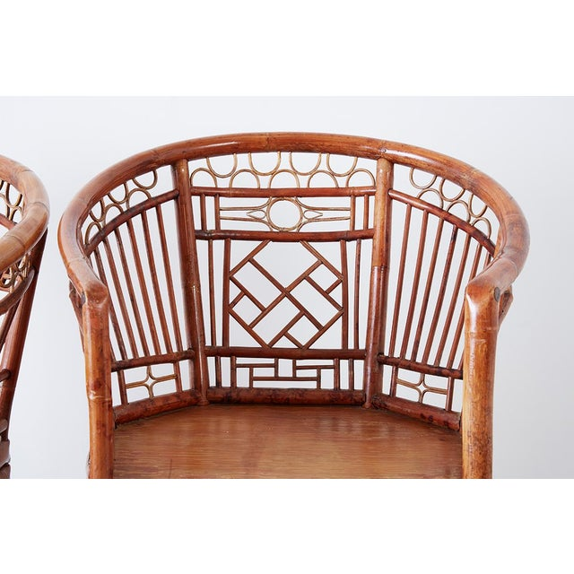 Set of Four Brighton Pavillion Style Bamboo Armchairs For Sale In San Francisco - Image 6 of 13