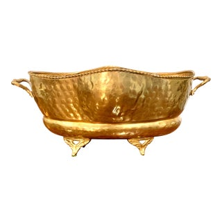 Vintage Footed Hammered Brass Cachepot or Jardiniere For Sale
