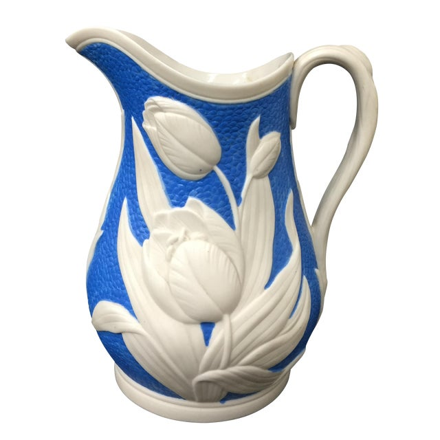 1850s Blue & White Tulip Relief Pitcher - Image 1 of 6