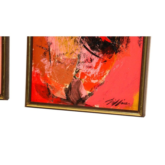 "Mid-Century Modern Mid Century Abstract Expressionist Oil paintings signed ""Griffin"" - a Pair For Sale - Image 3 of 11"