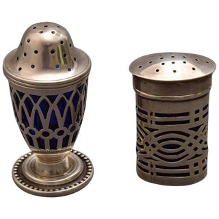 19th Century Traditional English Sterling and Cobalt Salt Shakers - 2 Piece Set For Sale
