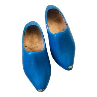Vintage Dutch Children's Hand Carved Wooden Shoes - a Pair For Sale