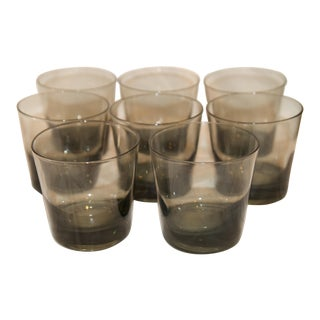 Vintage Smoked Glass Lowball Glasses- Set of 8 For Sale