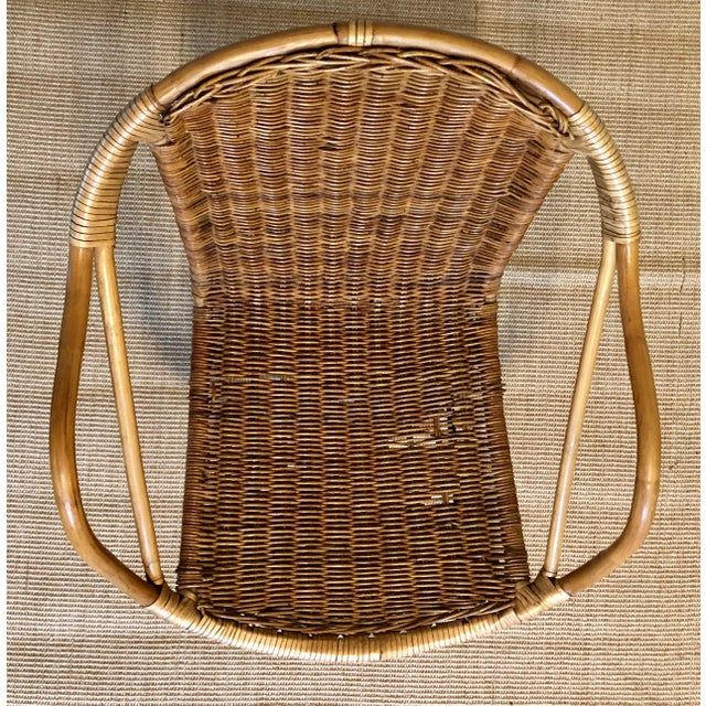Mid Century Italian Rattan & Sculpted Bamboo Boho Chic Chair For Sale In New York - Image 6 of 12