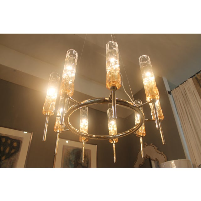 Eight Light Rose Gold Glass Chandelier - Image 4 of 7
