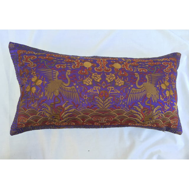 Vintage Lilac Silk Crane Boudoir Pillow For Sale In Los Angeles - Image 6 of 7