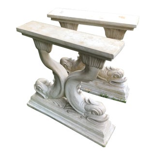 Vintage Cast Stone Neoclassical Dolphin Cast Stone Table Bases - a Pair For Sale