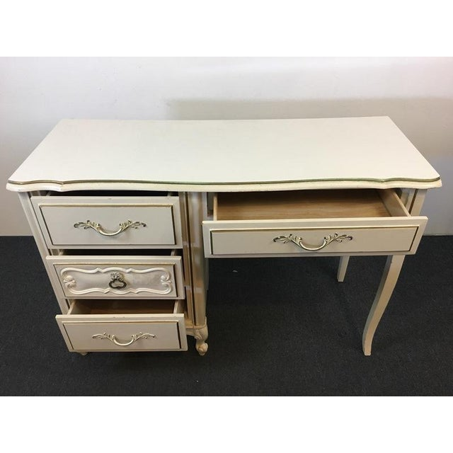 Vintage Shabby Chic White & Gold Hand Painted Wood Desk For Sale - Image 4 of 6