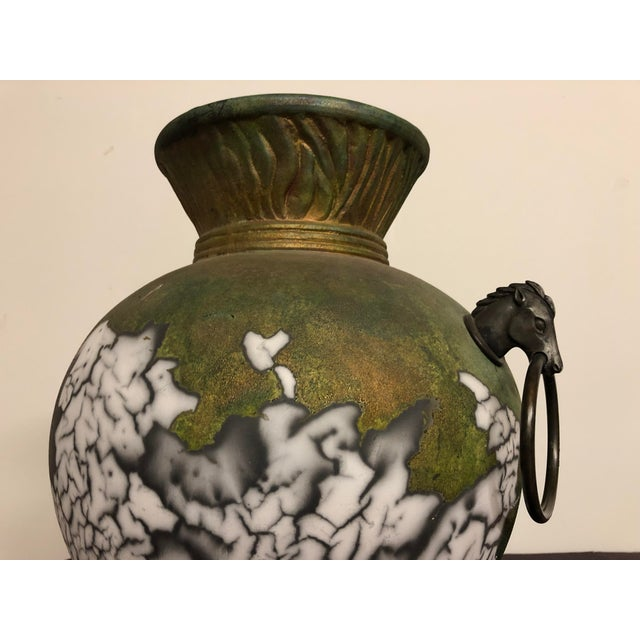 Tony Evans Raku Large Vase With Metal Horse Handles For Sale - Image 9 of 13