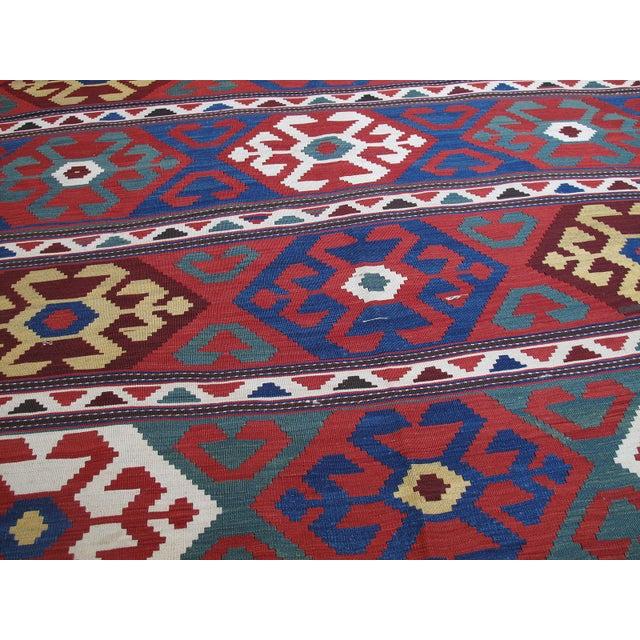 "Primitive ""Primary Colors,"" Antique Kazak Kilim For Sale - Image 3 of 10"