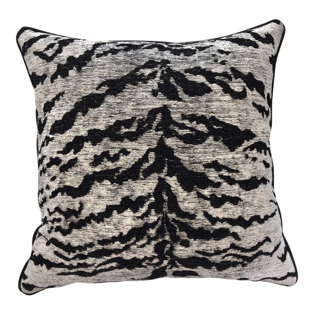 Kravet Couture on the Hunt White Tiger Pillow - Image 1 of 3