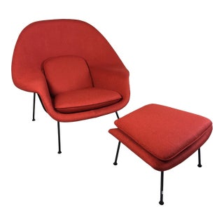 Eero Saarinen for Knoll 1950s Womb Chair and Ottoman - a Pair For Sale