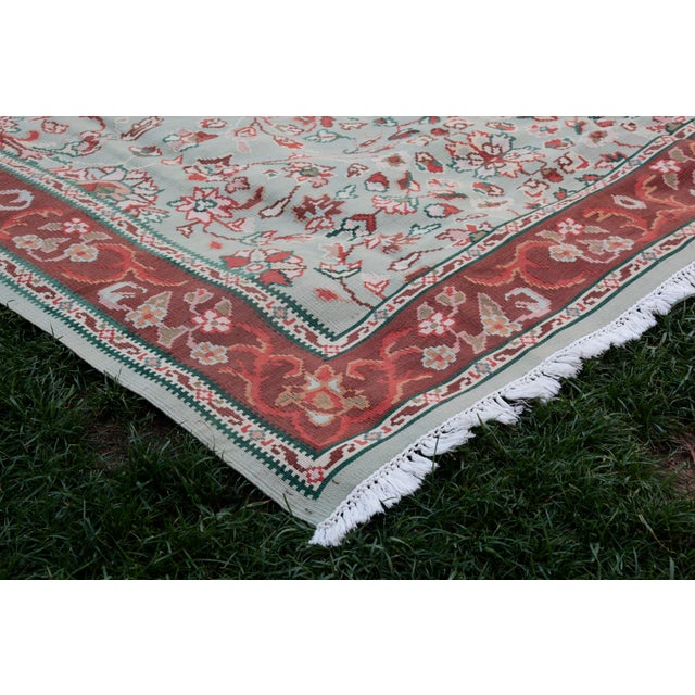 1950s 1950s Vintage Floral Wool & Cotton Kilim - 6′8″ × 9′4″ For Sale - Image 5 of 13