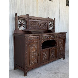 19th Spanish Carved Walnut Cupboard, Buffet With Cres Preview