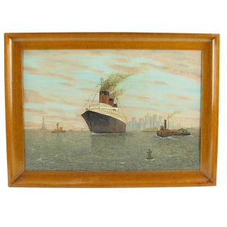 French Louis Sedroc Ss Normandie Transatlantic Ocean Liner in New York Painting For Sale
