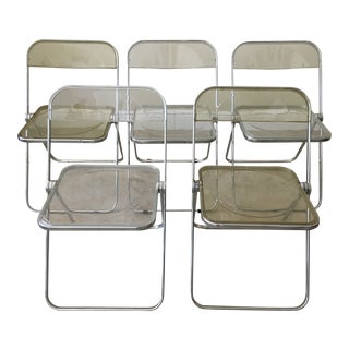 1970s Vintage Italian Plia Acrylic Folding Chairs - Set of 5 For Sale