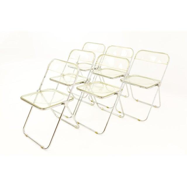 Italian Vintage Mid Century Anonima Castelli Italian Lucite Folding Chairs- Set of 6 For Sale - Image 3 of 11
