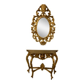 Carved Giltwood Console and Mirror - A Pair For Sale