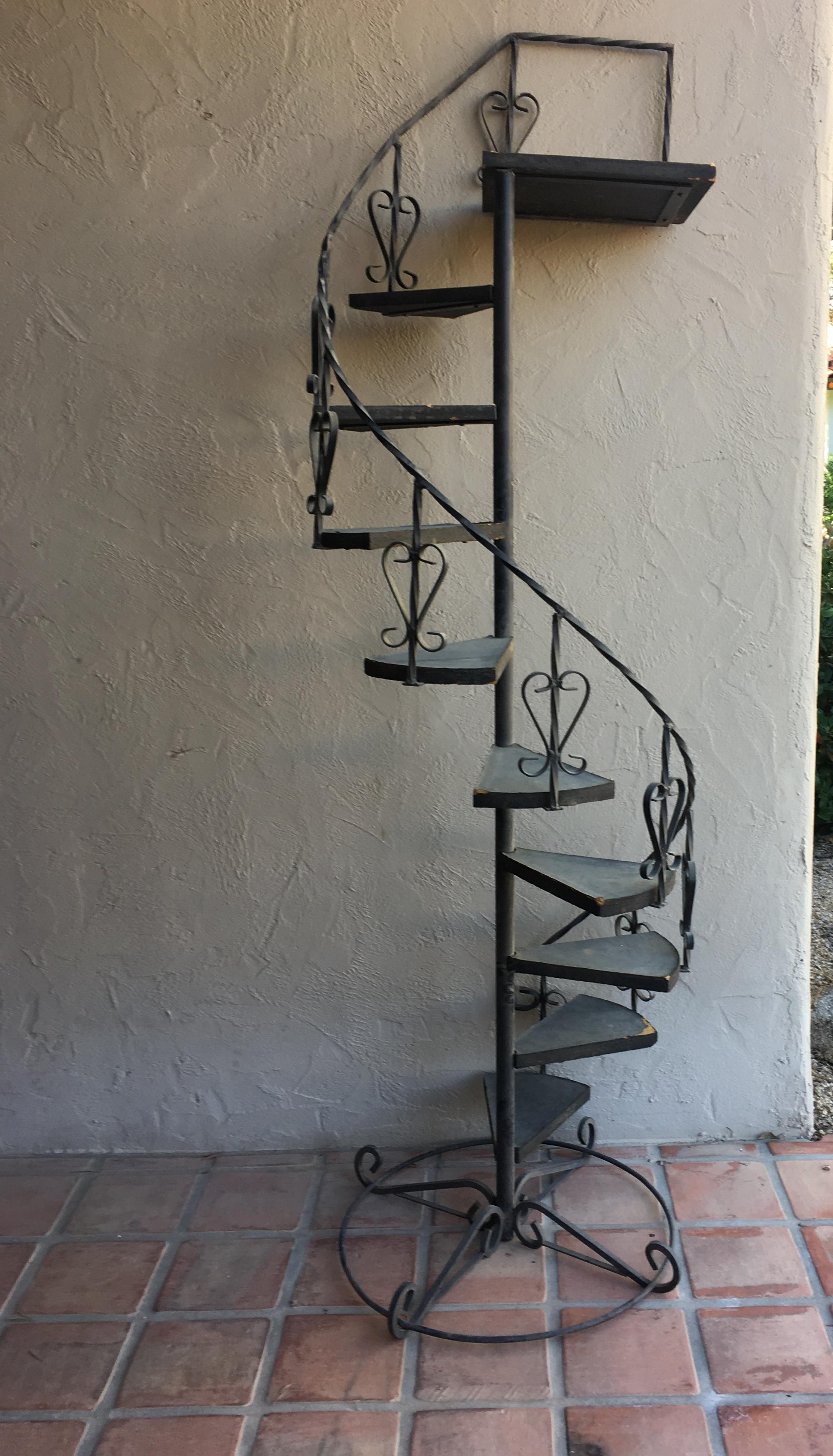 Nice Vintage Wrought Iron Spiral Staircase Plant Stand Garden Art For Sale    Image 12 Of 12