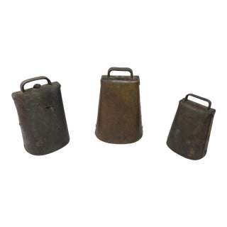 Antique American Primitive Cow Bell Collection - Set of 3 For Sale