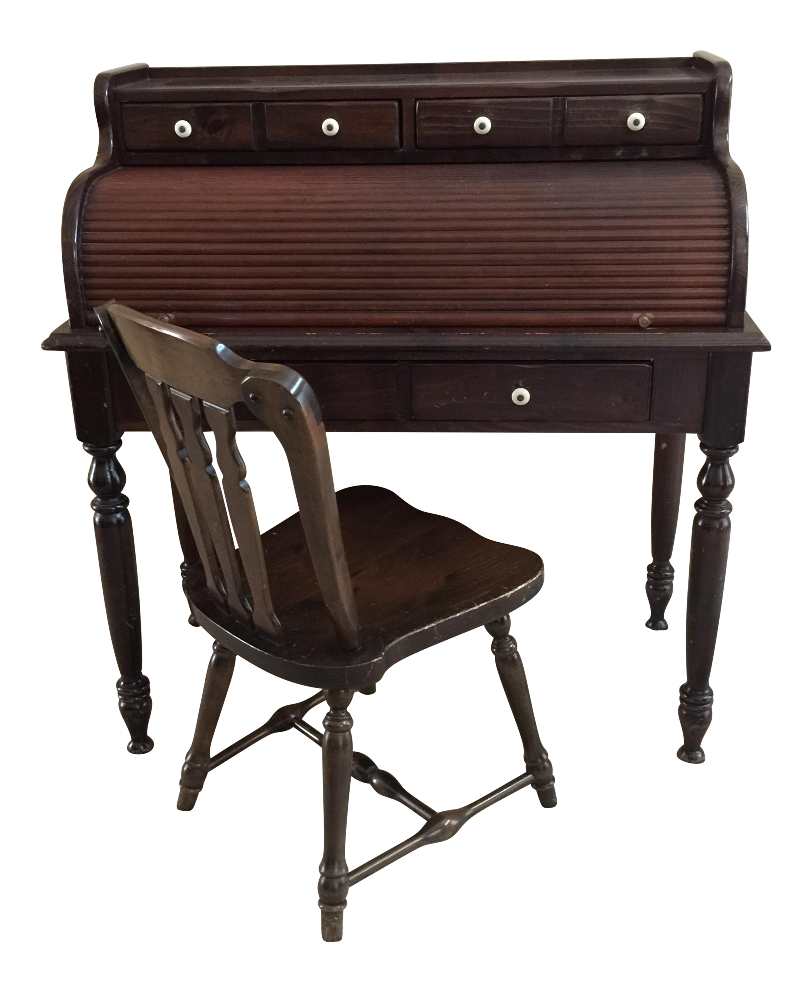 Attirant Ethan Allen Old Tavern Antiqued Pine Rolltop Desk U0026 Chair   A Pair