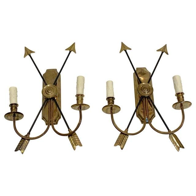 Bronze Maison Jansen Bronze Arrow Sconces, France - a Pair For Sale - Image 8 of 8