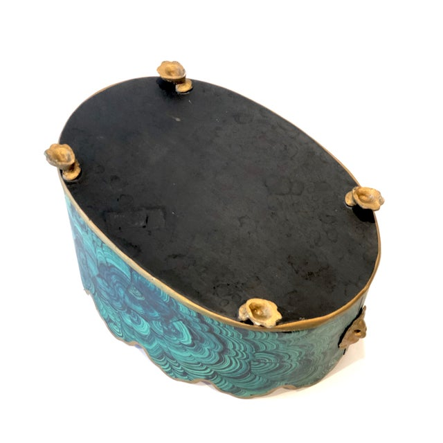 Regency Style Faux Malachite Tole Planter Box - Vintage For Sale In New York - Image 6 of 13