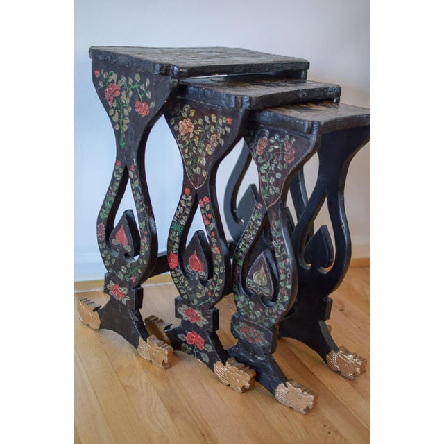 20th Century Asian Handprinted Stacking Tables - Set of 3 For Sale - Image 10 of 12