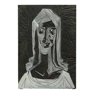 Vintage Mid-Century Brutalist Linocut Portrait For Sale