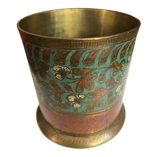 Mid 20th Century Vintage Cloisonné Brass Cup For Sale