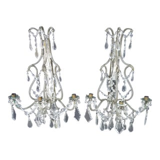 Antique Mirrored and Beaded Candle Sconces For Sale
