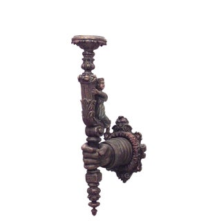19th Century Italian Renaissance Style Carved and Painted Wall Sconce For Sale
