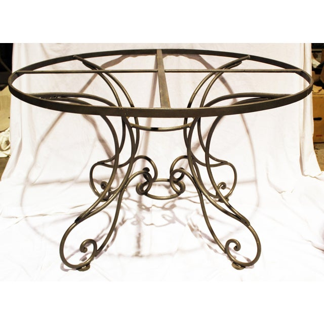 """Round wrought solid steel dining table base with sandblasted natural gray finish. Heavily built to hold 60""""-72""""Dia glass..."""