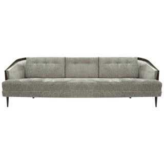 Mid-Century Modern Low Profile Walnut Frame Sofa in Grey Chenille For Sale
