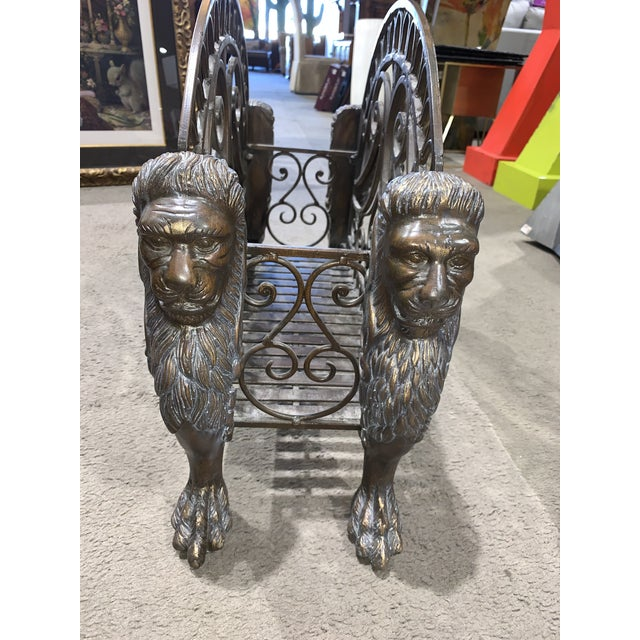 1960s Regency Style Bronzed Magazine Rack With Scrolled Design Lion Supports For Sale - Image 4 of 11