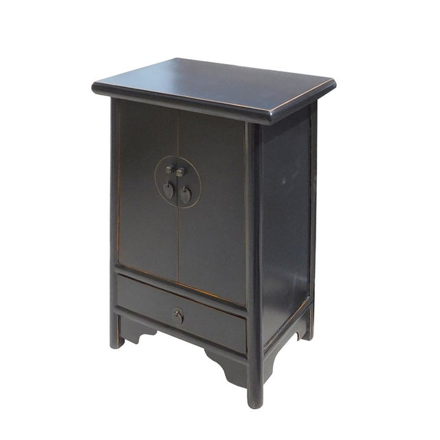 Chinese-Style Tapered Black Nightstand - Image 2 of 5