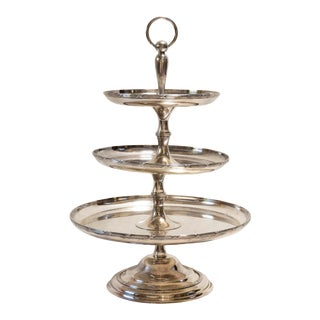 C. 1880 French Silverplate Three-Tier Dessert Stand For Sale