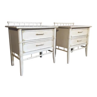 Pair of Faux Bamboo Nightstands by Thomasville For Sale