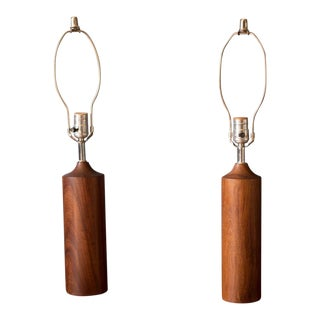 1960s Mid-Century Modern Teak Cylinder Lamps - a Pair For Sale