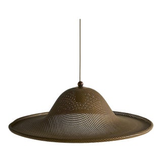 Medium Vintage Perforated Brass Pendant Light For Sale