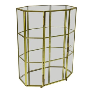 Large Brass Glass Display Case Curio For Sale