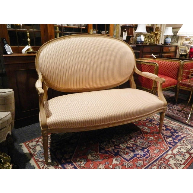 A Louis XVI Style Limed Wood Settee having a padded oval back, padded arms and a stuffover seat, raised on fluted tapering...