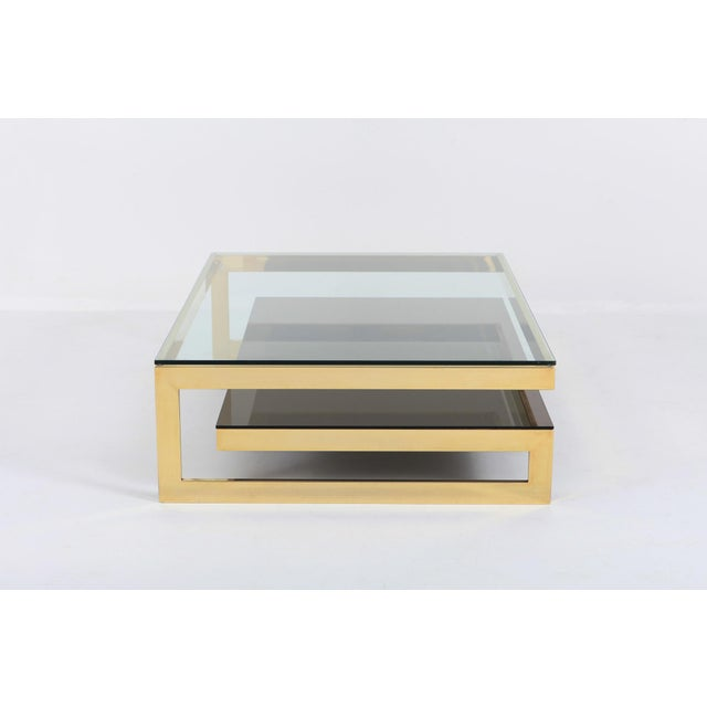 Hollywood Regency Belgo Chrome Golden G Coffee Table Extra Large For Sale - Image 3 of 12