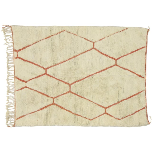 Organic Modern Style Berber Moroccan Rug - 05'05 X 07'02 For Sale - Image 9 of 10