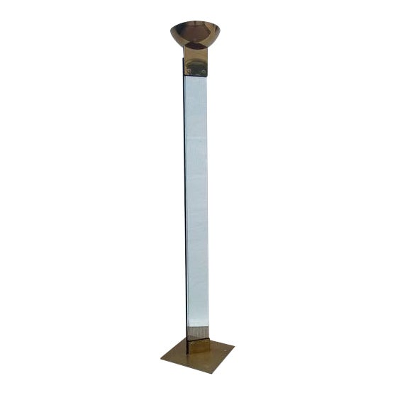 Italian Mid Century Brass and Glass Torchiere Floor Lamp For Sale