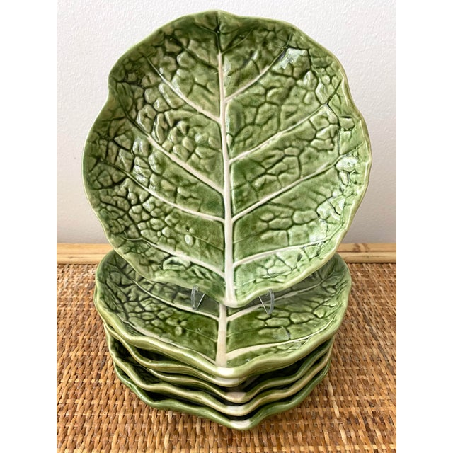 Ceramic Mid 20th Century Green Cabbage Leaf Plates Portugal - Set of 6 For Sale - Image 7 of 13